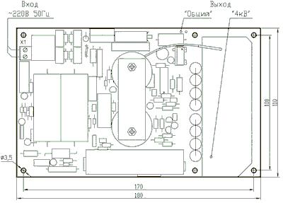 Блок питания МПВВ80С1. Схема расположения.